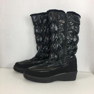 PAJAR Patent Black Fur Lined Boots